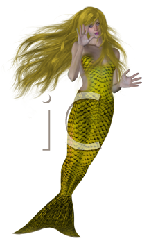 Royalty Free Clipart Image of a Blonde Mermaid