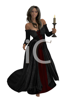 Royalty Free Clipart Image of a Woman in a Black Gown Holding a Candle