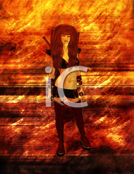 Royalty Free Clipart Image of a Warrior Woman