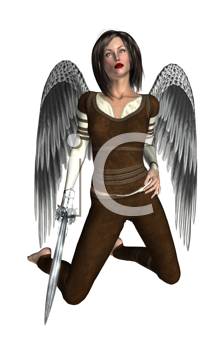Royalty Free Clipart Image of an Archangel Warrior