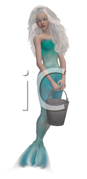 Royalty Free Clipart Image of a Mermaid With a Bucket