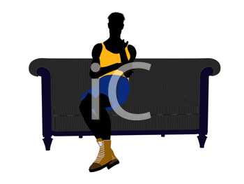 Royalty Free Clipart Image of a Basketball Player Sitting on a Couch