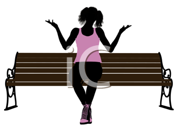 Royalty Free Clipart Image of a Girl on a Park Bench