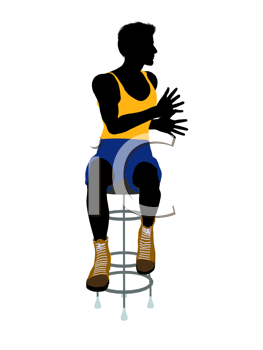 Royalty Free Clipart Image of a Man on a Barstool