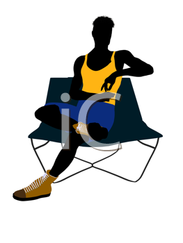 Royalty Free Clipart Image of a Man on a Lounge Chair