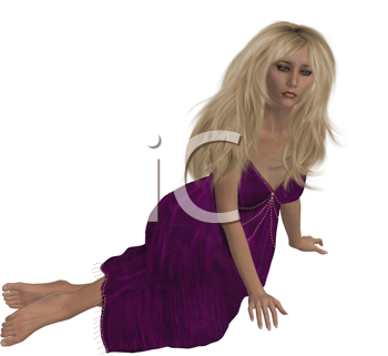Royalty Free Clipart Image of a Woman in a Purple Dress