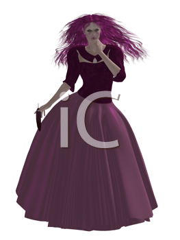 Royalty Free Clipart Image of a Woman in a Magenta Gown