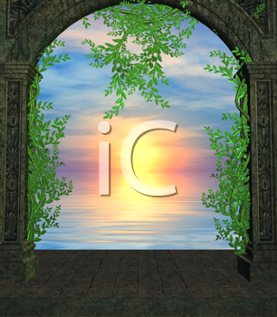 Royalty Free Clipart Image of a Sunset