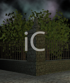 Royalty Free Clipart Image of Trees and a Fence