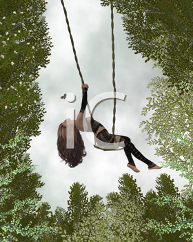 Royalty Free Clipart Image of a Woman in the Forest on a Swing
