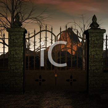 Royalty Free Clipart Image of a Gate With a Mountain in the Background