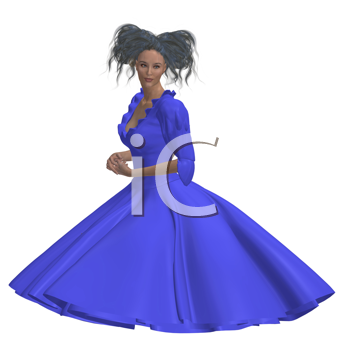 Royalty Free Clipart Image of a Woman in a Blue Gown