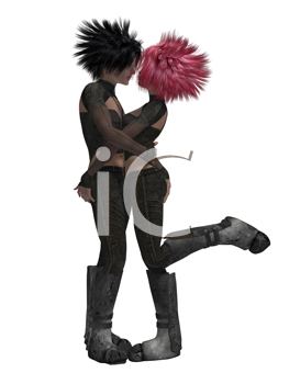 Royalty Free Clipart Image of a Sci Fi Couple Kissing