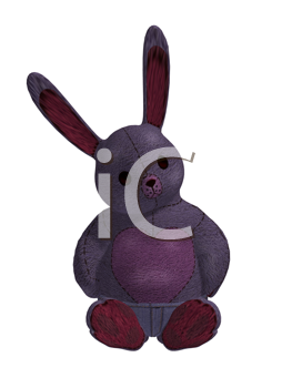 Purple rabbit sitting