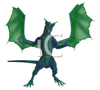 Blue green dragon standing with wings spread