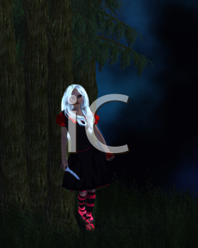 Royalty Free Clipart Image of a Girl Standing Next to a Tree With a Knife and an Apple