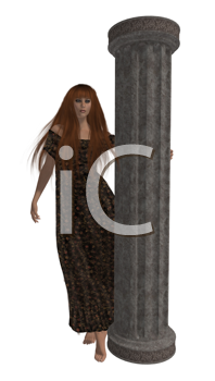 Woman standing holding on to a column