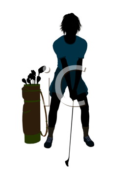 Royalty Free Clipart Image of a Female Golfer