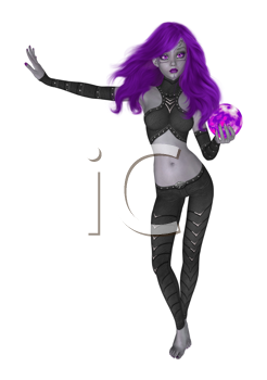 Royalty Free Clipart Image of a Goth Girl Holding a Crystal Ball
