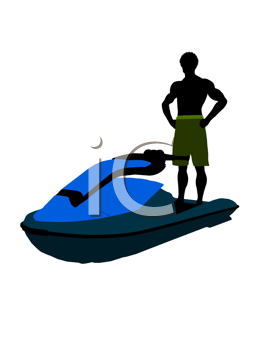 Royalty Free Clipart Image of a Man and a Jet-Ski