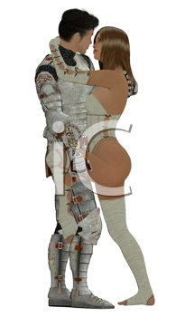 Royalty Free Clipart Image of a Knight and His Love