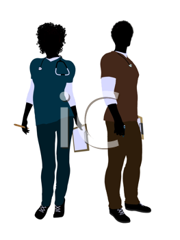 Royalty Free Clipart Image of a Doctor and Nurse