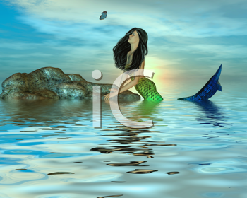 Royalty Free Clipart Image of a Mermaid Looking at a Butterfly