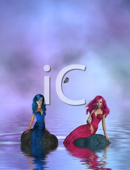Royalty Free Clipart Image of Mermaids