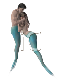 Royalty Free Clipart Image of a Mermaid and Merman Embracing