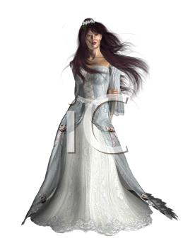 Royalty Free Clipart Image of a Woman in a White Gown