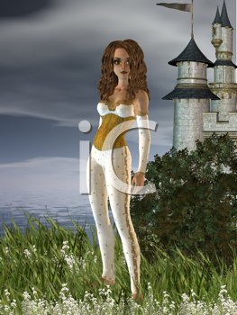 Royalty Free Clipart Image of a Girl in a Field By a Castle