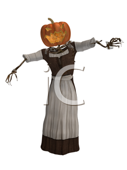 Royalty Free Clipart Image of a Pumpkin Woman