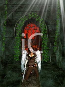 Royalty Free Clipart Image of a Fantasy Angel