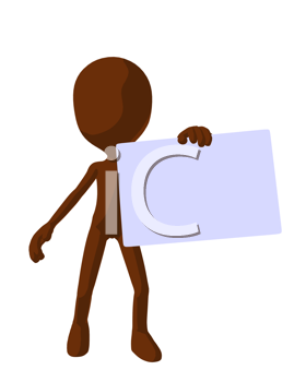 Royalty Free Clipart Image of a Brown Silhouette With a Sign