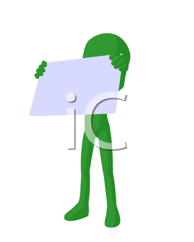 Royalty Free Clipart Image of a Green Silhouette Holding a Sign