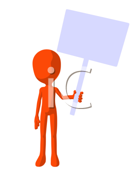Royalty Free Clipart Image of an Orange Silhouette Holding a Sign