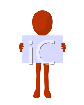 Royalty Free Clipart Image of a Orange Man With a Sign