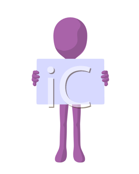 Royalty Free Clipart Image of a Purple Man Holding a Sign
