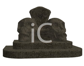 Royalty Free Clipart Image of a Skull Monument
