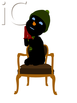 Royalty Free Clipart Image of a Snowman on a Chair