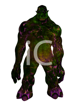 Purple and green troll standing ready for battle