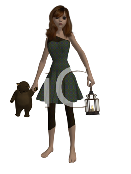 Royalty Free Clipart Image of a Girl With a Teddy Bear and Lantern