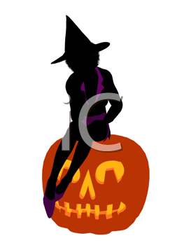 Royalty Free Clipart Image of a Witch and a Pumpkin