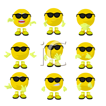 Royalty Free Clipart Image of Smileys in Sunglasses