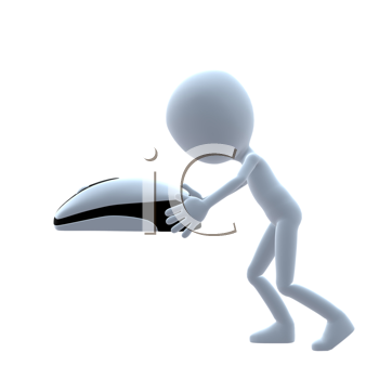 Royalty Free Clipart Image of a 3D Guy With a Computer Mouse