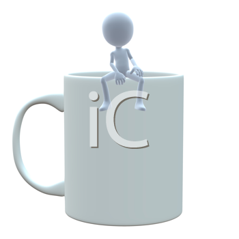 Royalty Free Clipart Image of a 3D Guy With a Coffee Mug