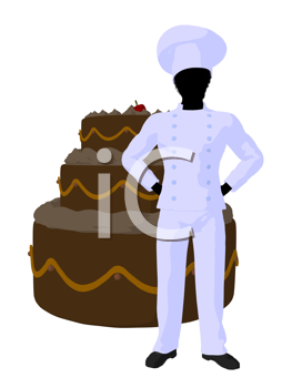 Royalty Free Clipart Image of a Chef With a Cake
