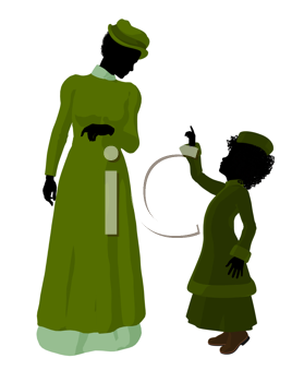 Royalty Free Clipart Image of a Victorian Mother and Child