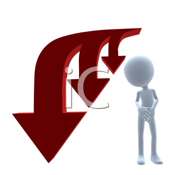 Royalty Free Clipart Image of a 3D Man Beside Three Arrows