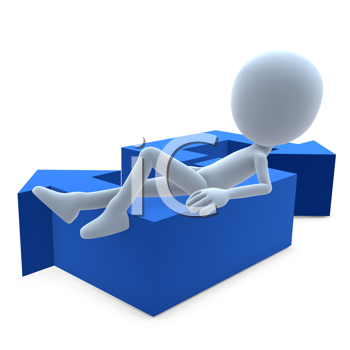 Royalty Free Clipart Image of a Man With an S Arrow